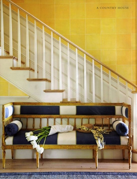 yellow-decorating-hall-stair-blue-white-settee-gilded-gold-eclectic-home-decor-ideas-richard-Hallberg