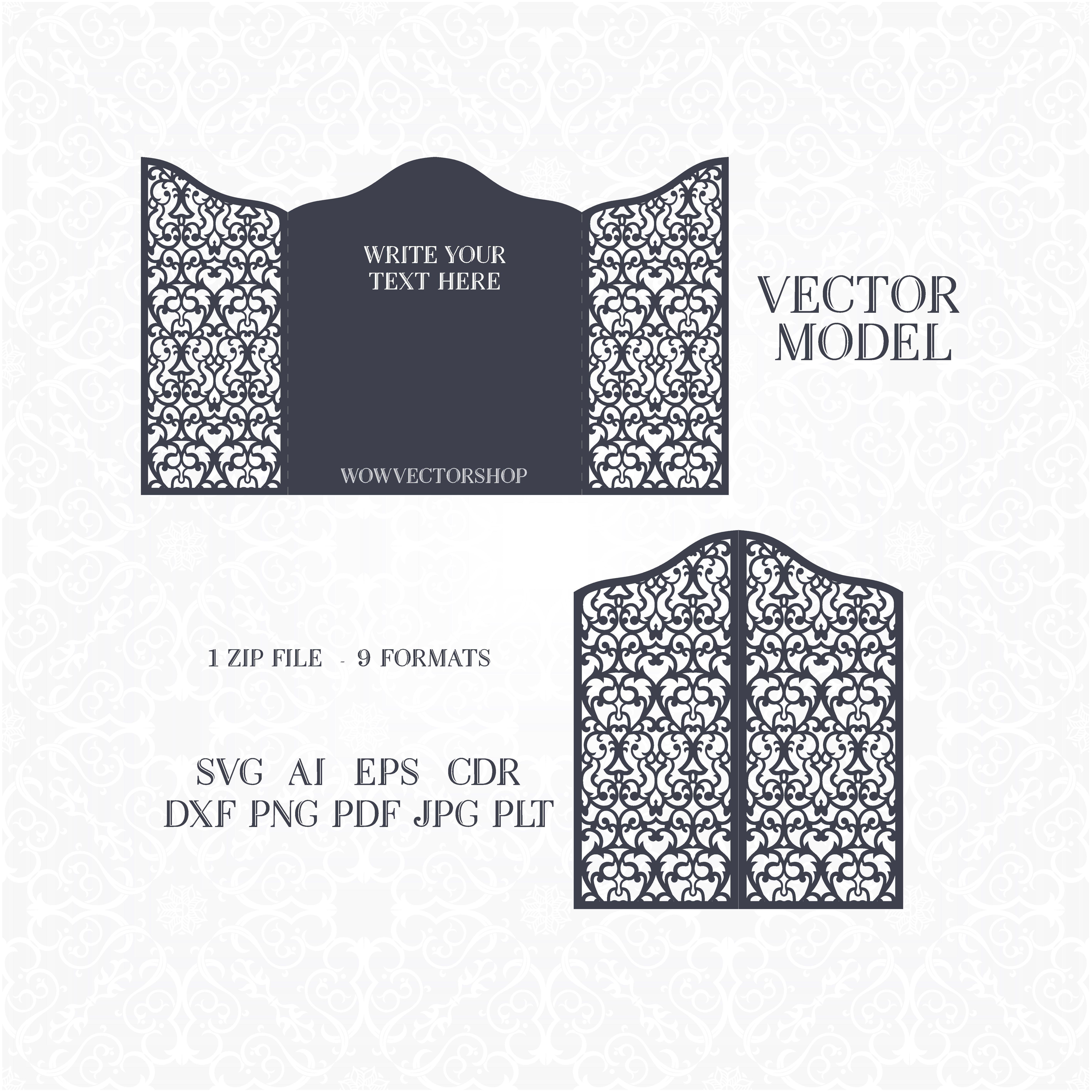 laser cut wedding invitation template https://www.etsy.com/shop ...