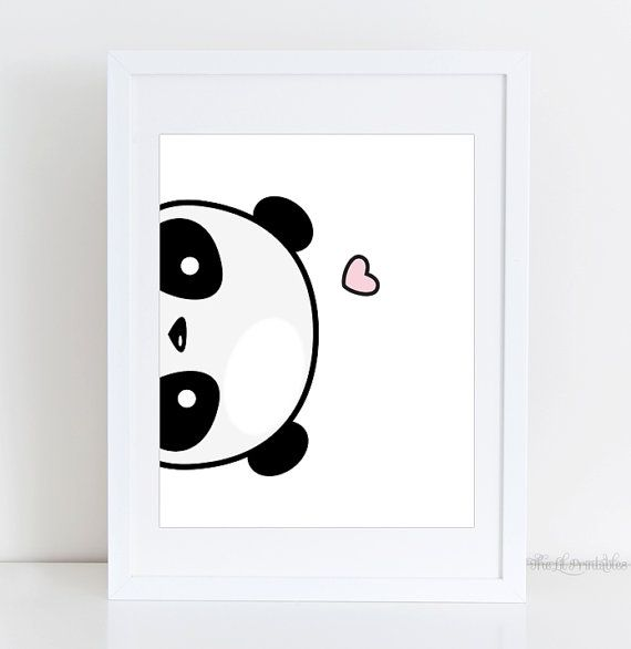 Sideways Panda Printable Cute Panda Print Kawaii Panda Printable