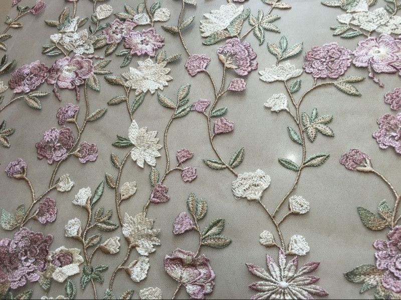 1Yard DIY Flower Embroidered Fabric Lace Material Wedding Dress Vintage Sewing