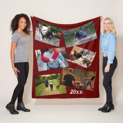Collegejaar zomervakantie 20xx DIY foto kastanjebruin Fleece deken