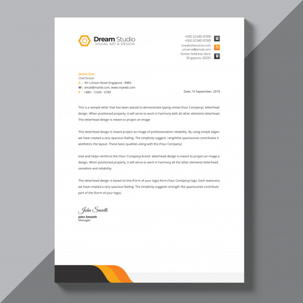 download letterhead template with orange details for free resume format agriculture graduate bad examples highschool students email cover letter job application