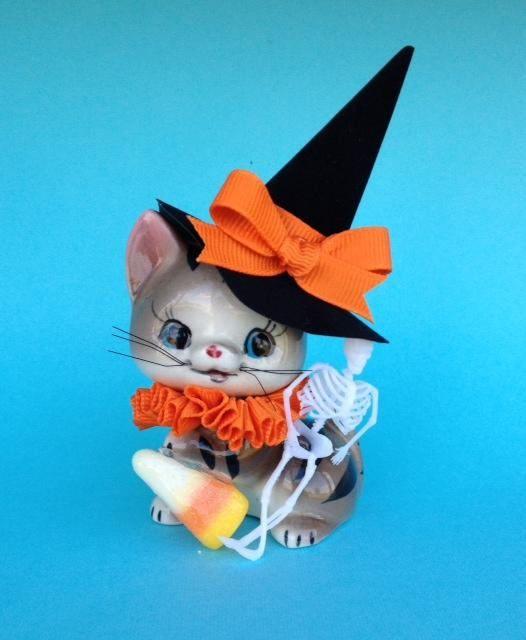 Halloween Decoration Vintage Candy Corn Kitten Halloween With Images Halloween Decorations Vintage Candy Halloween Ornaments
