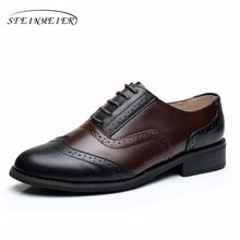 8f038883f Women Genuine leather oxford retro US 10 shoes brown black comfortable  round toe flats oxfords shoes for women(China)