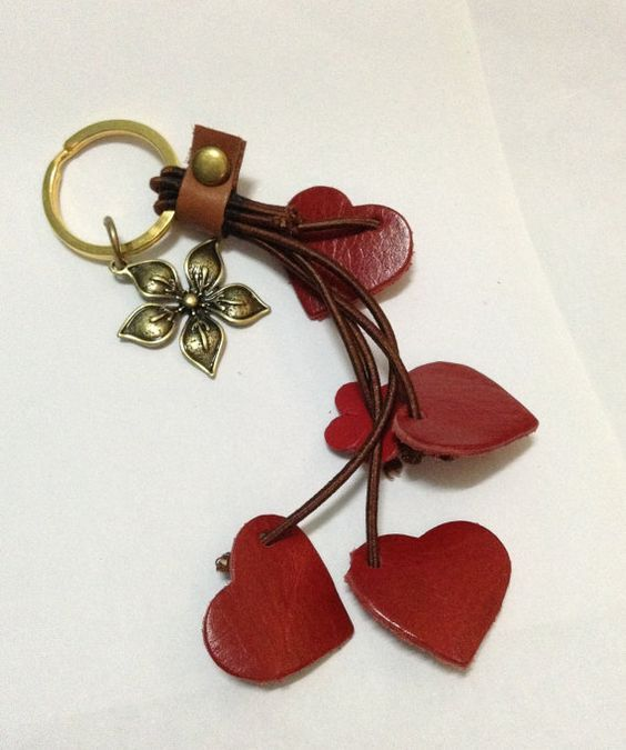 Red Hearts Genuine Leather Key Chain with Flower, Keychain, Red leather, Hearth key chain, Leather key chain, Genuine leather, Handmade.