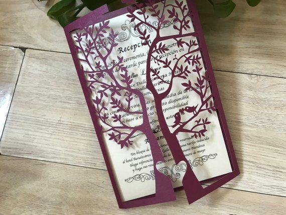 50pcs Burgundy Red Tree Wedding Invitation Laser Cut Invitation