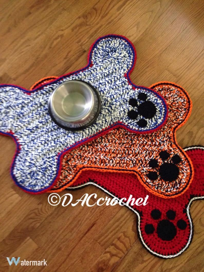 Crochet Pattern Dog Bone Placemat Pet Food Bowl Floor Mat Rug Dog Crate Mat Rug Bone Shape Mat Rug Bone Paw Print Food Mat Crochet Dog Dog Bowl Mat Dog