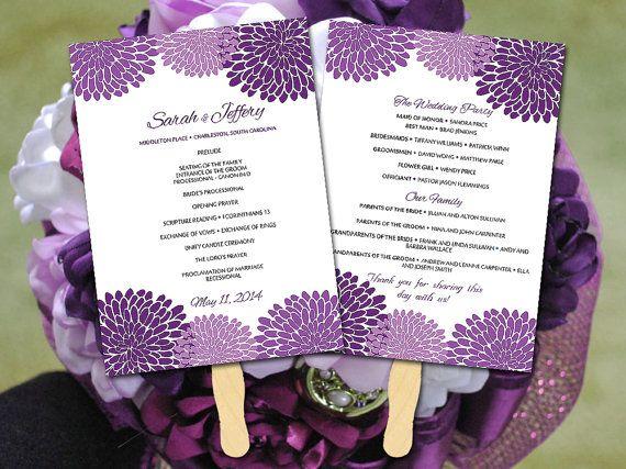 Chrysanthemum Wedding Fan Program Template by PaintTheDayDesigns