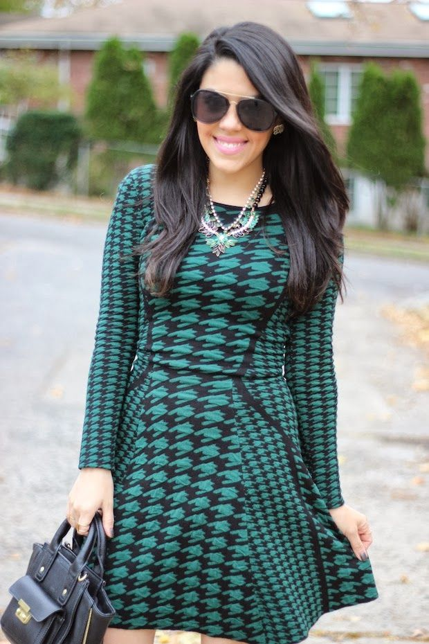 A Love Affair With Fashion : Emerald Houndstooth