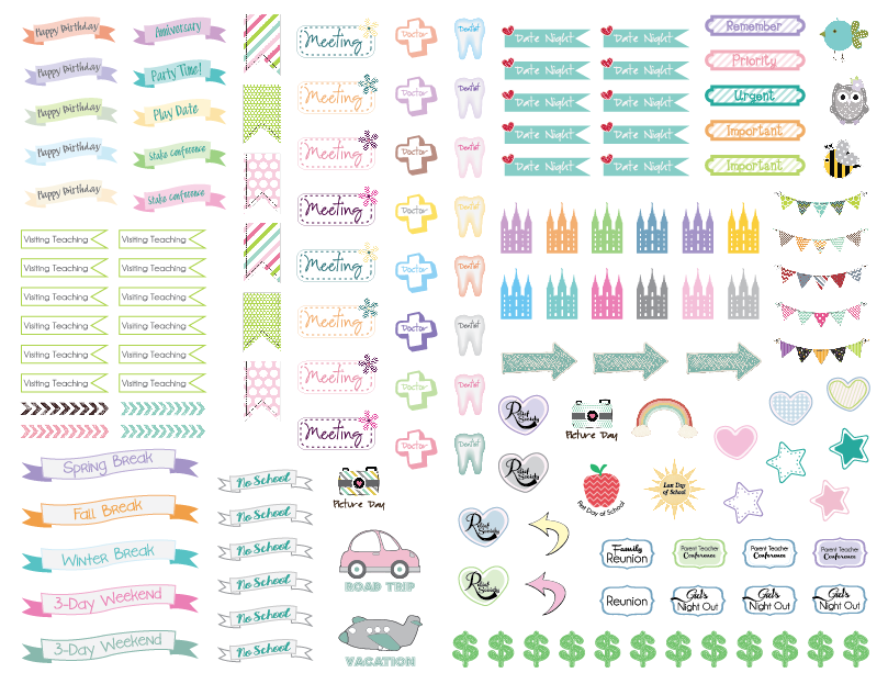 Planner Sticker Planner Agenda Birthday Sticker Sheets colors stickers