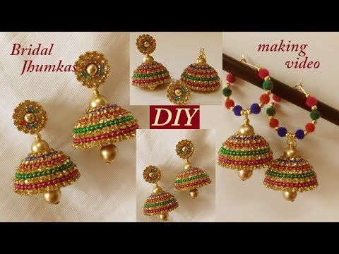 Diy How To Make Designer Silk Thread Bridal Jhumka Earrings At Home Tutorial You
