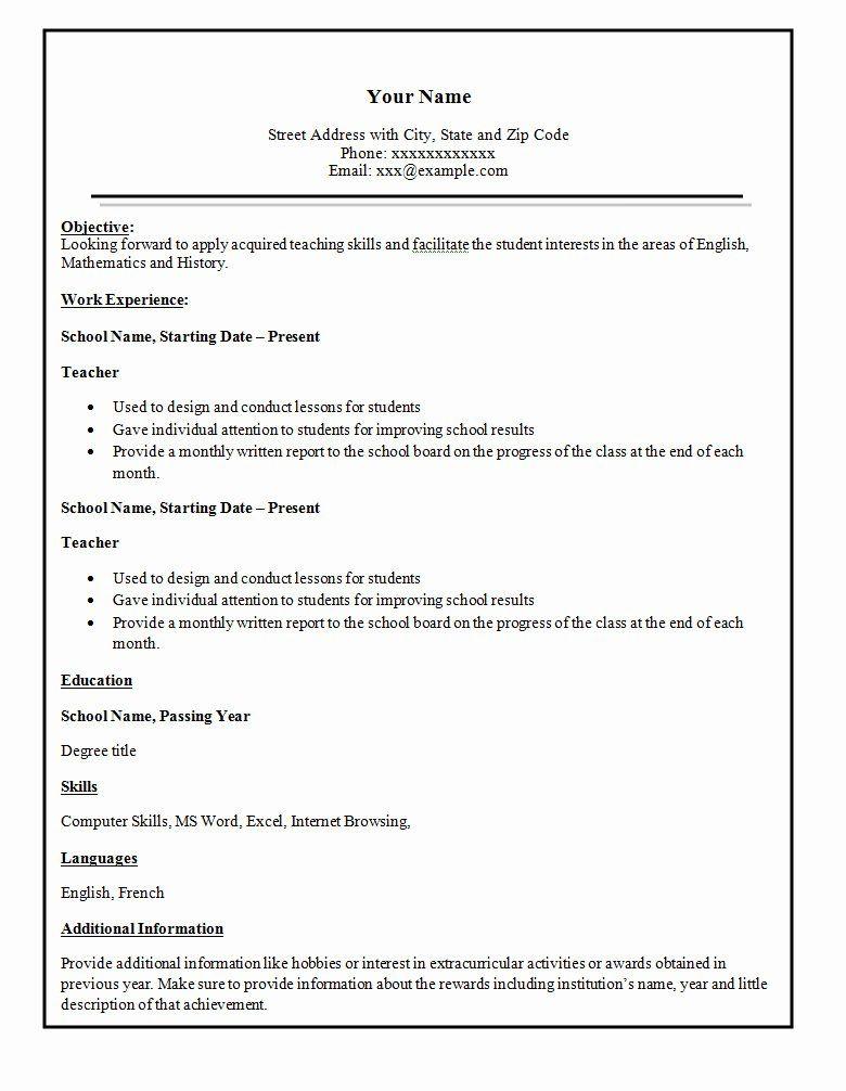 Easy Resume Template Free Elegant Simple Resume Template 46 Free Samples Examples In 2020 Simple Resume Template Simple Resume Format Resume Format Examples