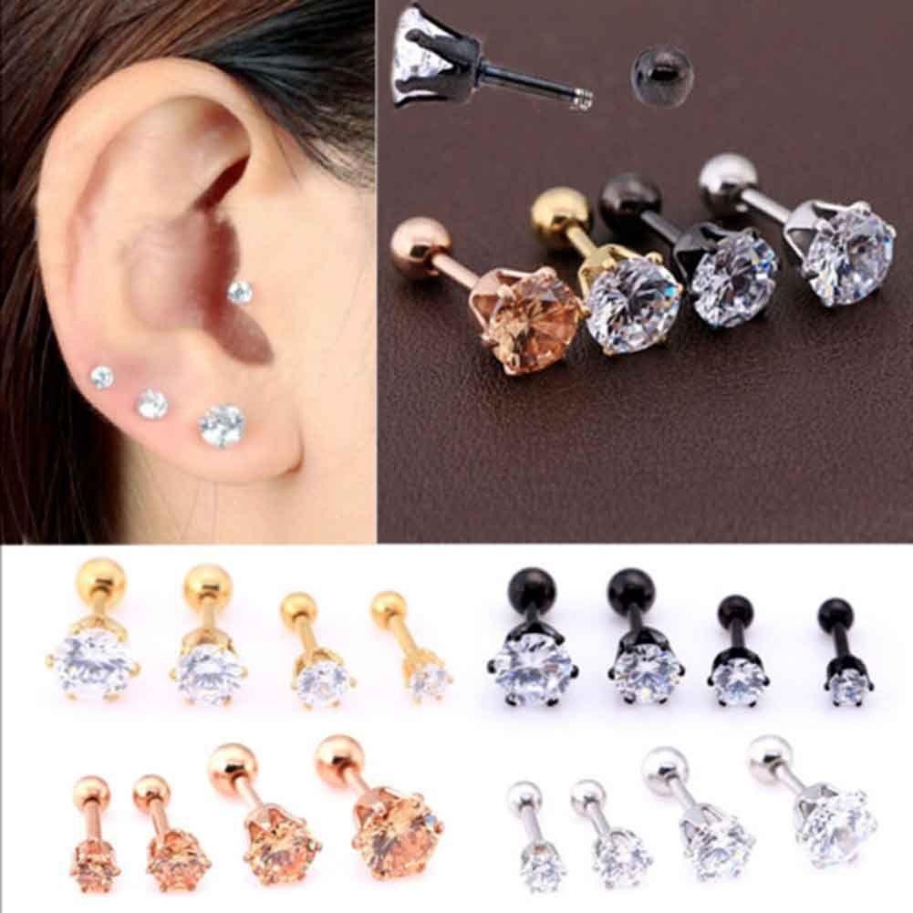 Nose piercing 6mm  AUD  Pc Ear Nose Stud Earrings Steel Ring Charm Piercing