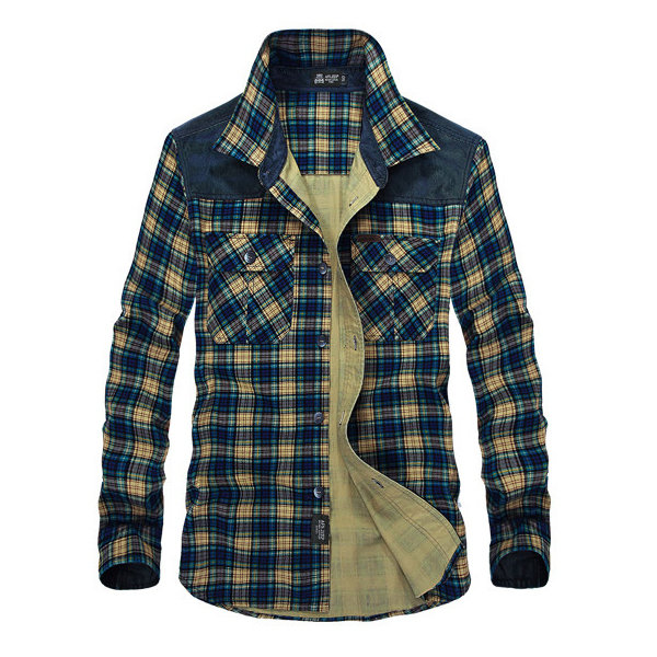 2a04991b13b0 Military Pure Cotton Plus Size Bussiness Casual Checked Chest Pockets Shirt  for Men