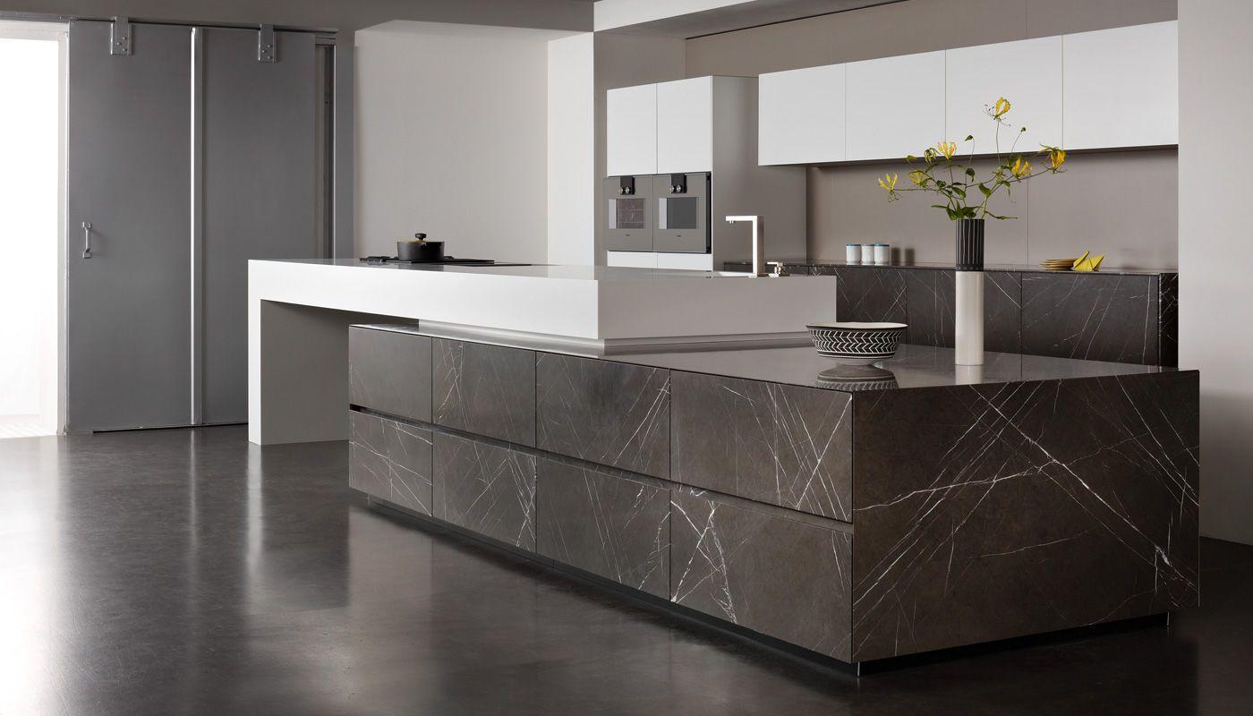 contemporary kitchen / corian® / limestone / island grafite brown