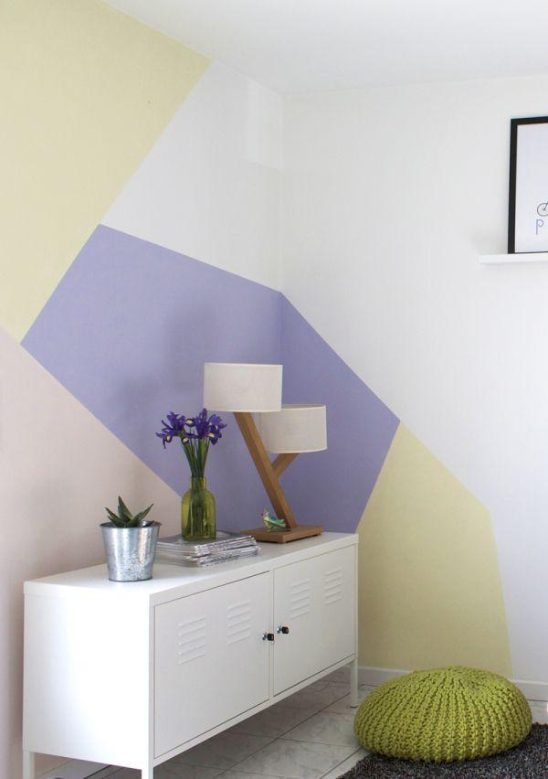 Peinture murale motifs géométriques déco chambre bébé Pinterest