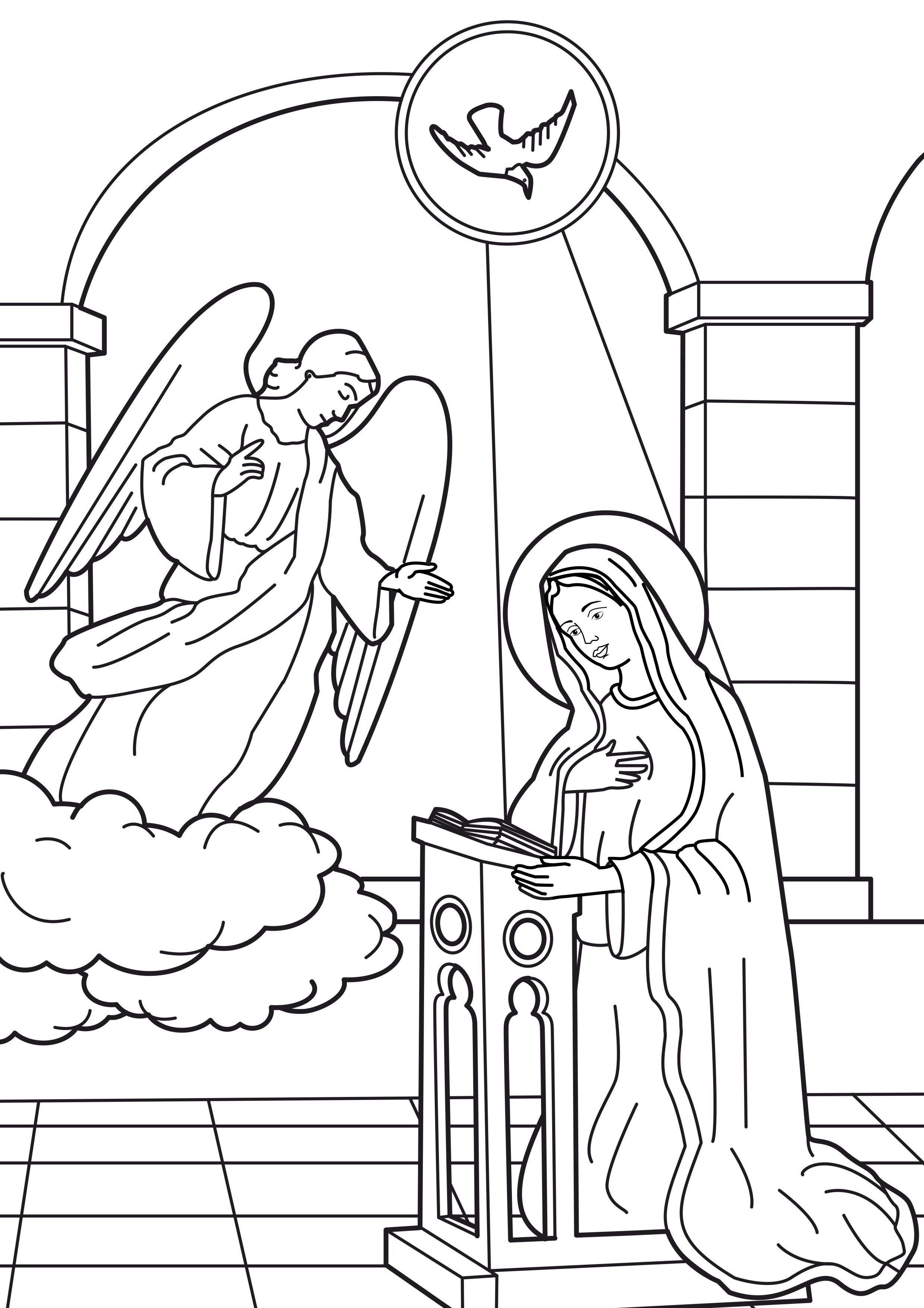 Virgin Mary Coloring Pages Virgen Maria Para Ninos La Anunciacion De Maria Anunciacion De La Virgen Maria