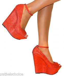881ec31d37cf RED SUPER GLITTERY SPARKLY HIGH WEDGE PEEP TOE SANDALS HEELS ...
