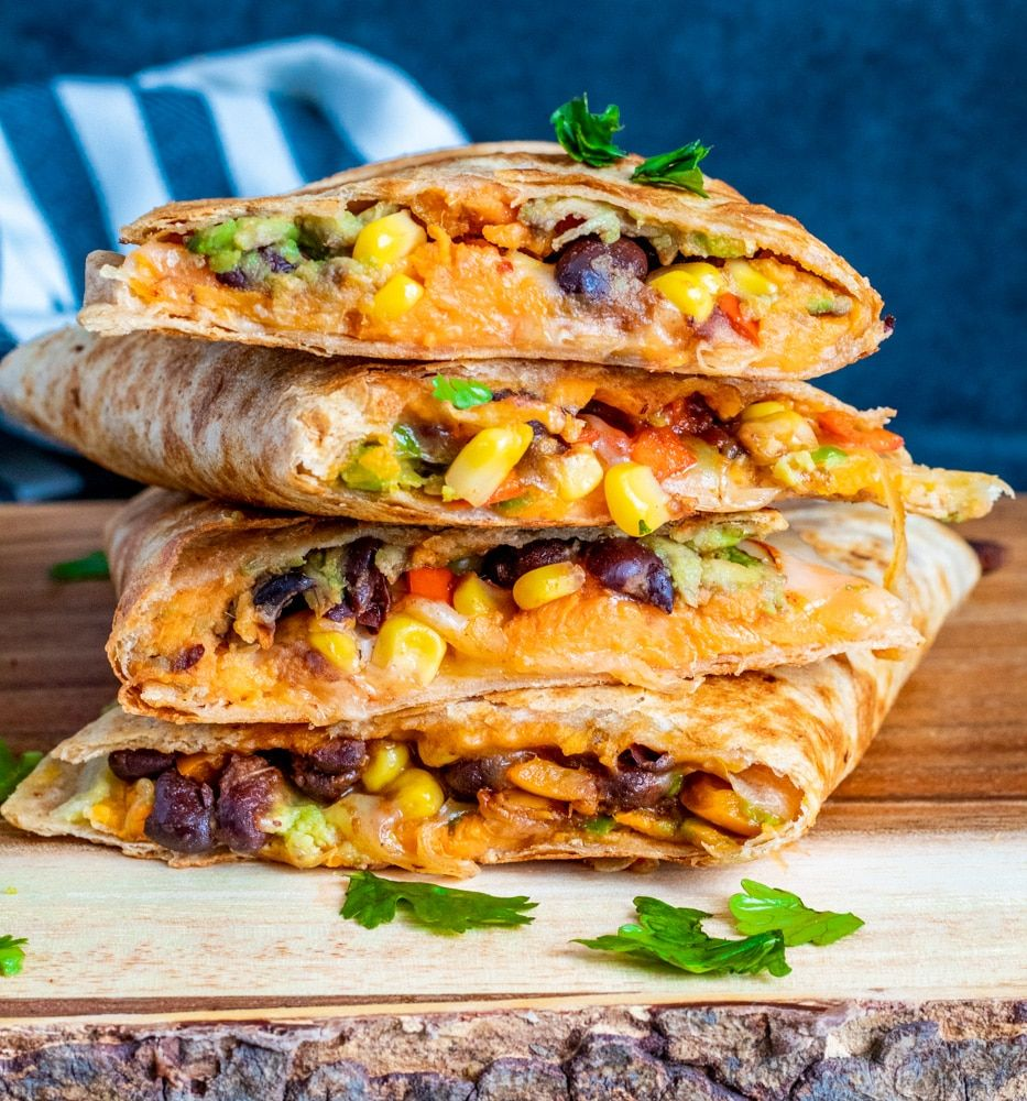 Vegetarian Quesadillas with Black Beans and Sweet Potato