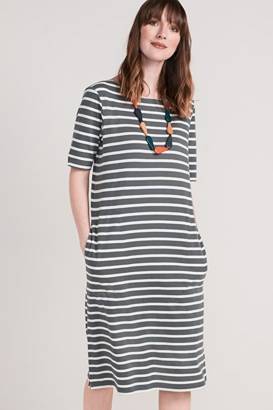 7aa3988f3c8 Organic Cotton Breton Striped Boat Neck Midi Sailor Dress - Seasalt ...