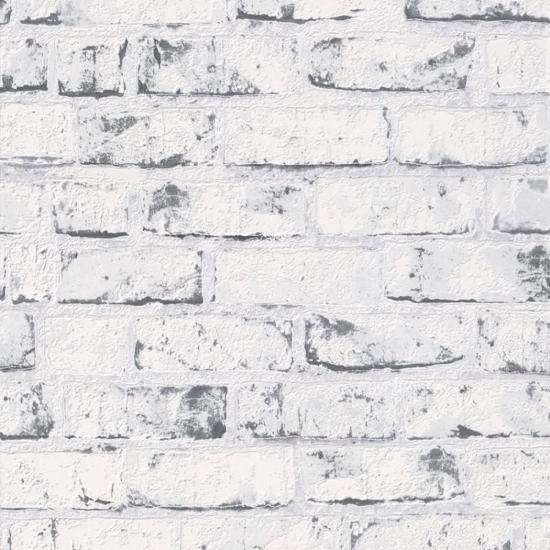 9078-37 Grey White Distressed Vintage Painted Brick Effect