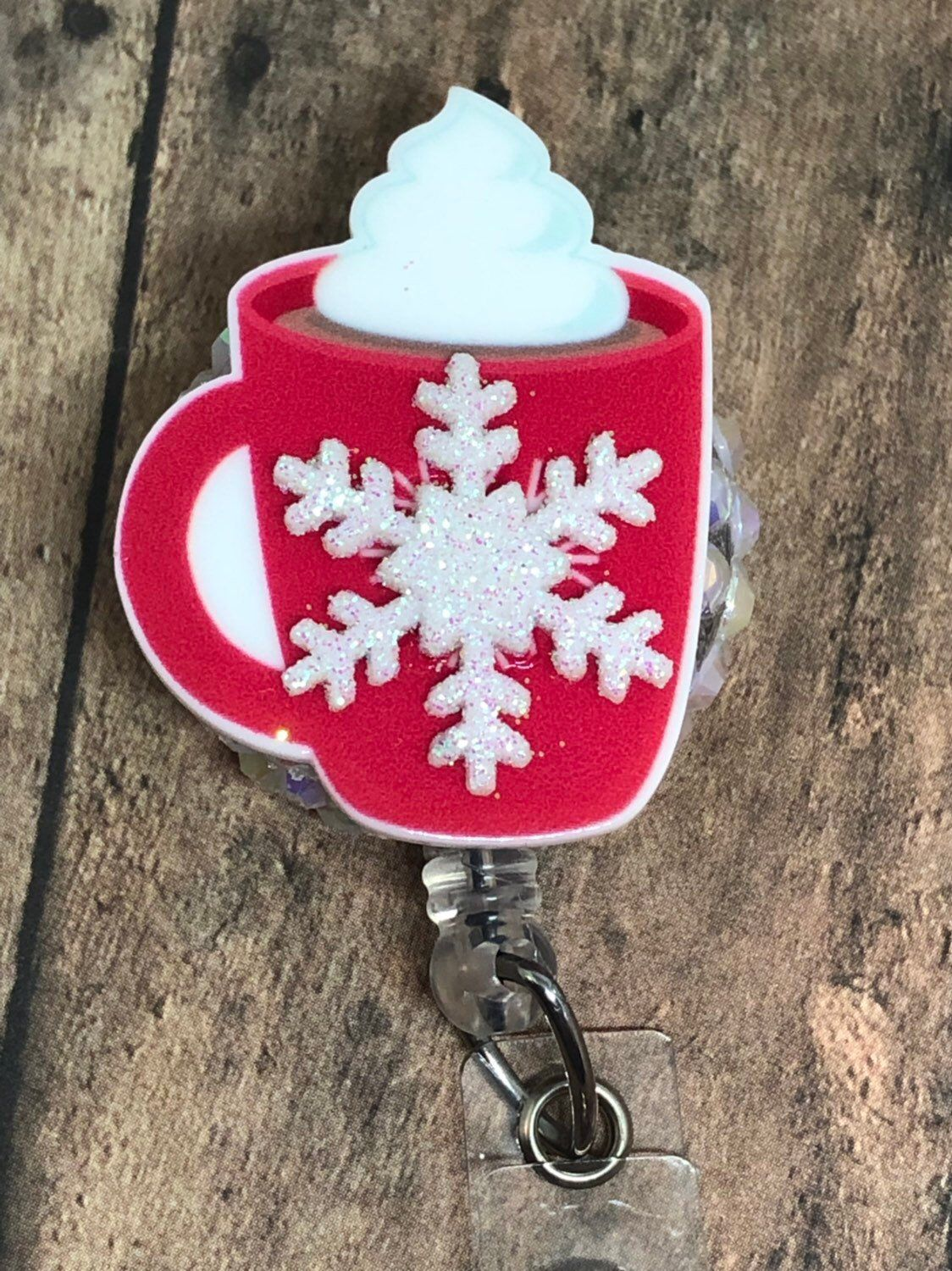 Christmas Red Cup Coffee ID Badge Reel - Retractable ID Badge Holder