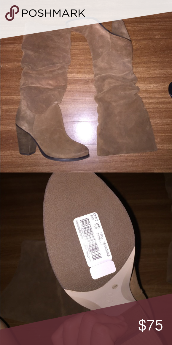 Arturo Chiang Heeled Suede Boots Arturo Chiang high heeled brown suede slouched boots. Purchased from Dillards for $150 and never worn. Size 10. Arturo Chiang Shoes Heeled Boots
