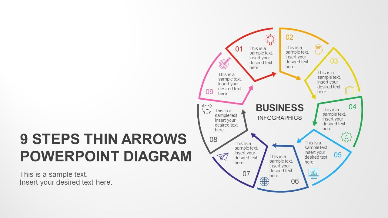 9 Steps Circular Thin Arrows PowerPoint Diagram | Diagrams | Diagram