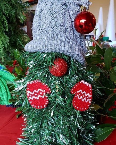 He needs a name! | michaels crafts diy home decor #christmas #gnome #woodland #elf #tree #decor #diy #michaels #christmasdecor #mittens #holiday #rednose #help #potd #ididthis #crafts #art #folk