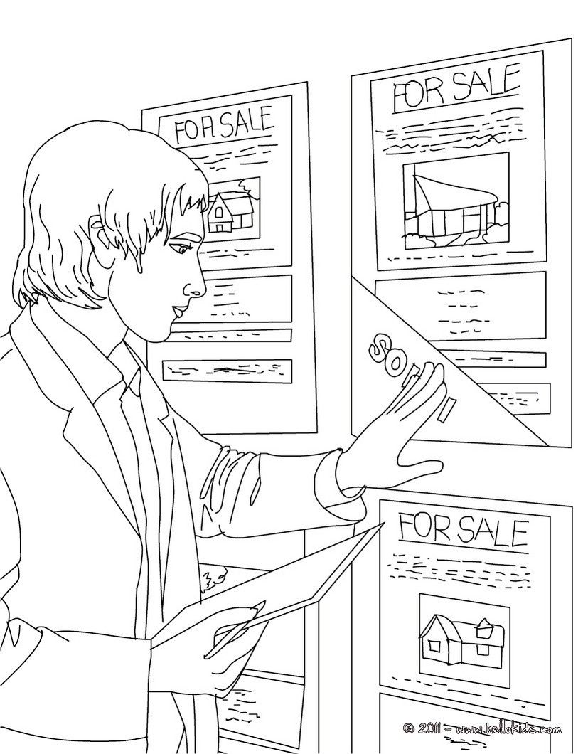 Real Estate Agent Up Dates Real Estate Ads Coloring Page Amazing Way For Kids To Discover Job More Original Content On H Coloring Pages Real Estate Ads Color