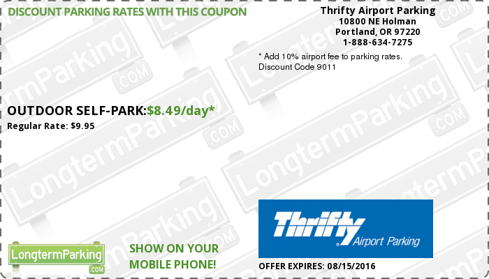 Thrifty Airport Parking Portland Airport PDX Airport Parking Coupon From  LongtermParking.com