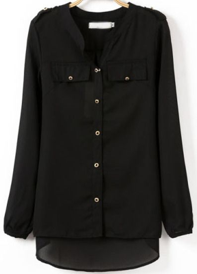 Black V Neck Long Sleeve Buttons Dipped Hem Blouse pictures