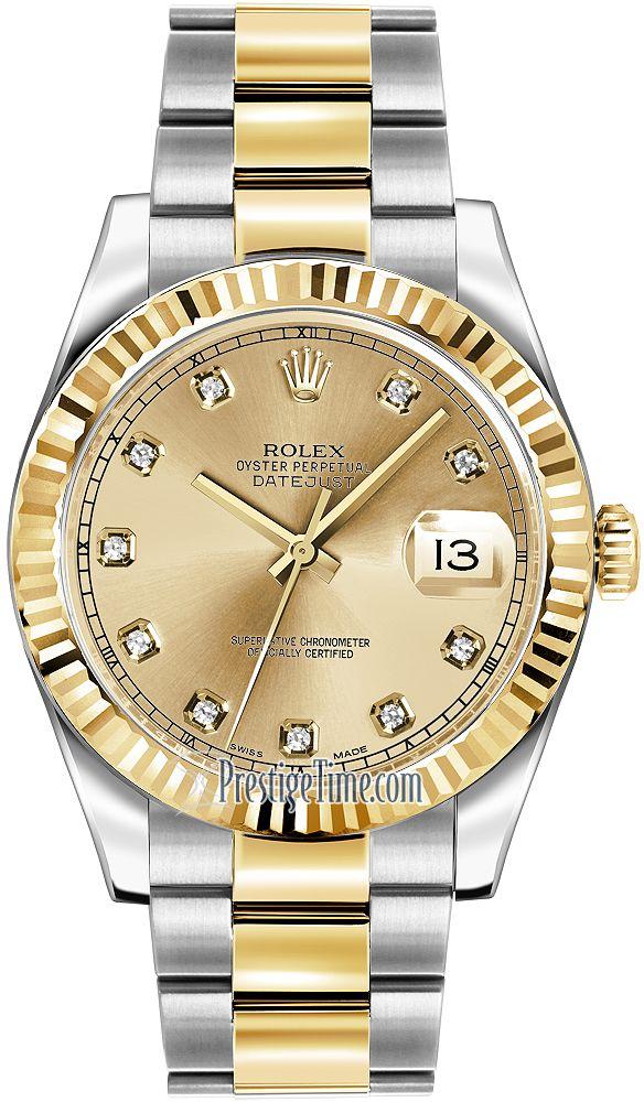 f197f1c2aee Rolex Oyster Perpetual Datejust II 116333 Champagne Diamond   tick ...