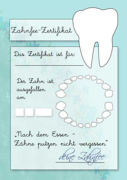 Zahnfeezertifikat Zum Ausdrucken Basteln Tooth Fairy