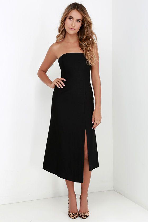 Black Strapless Midi Dress