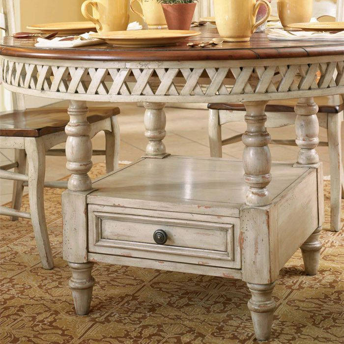 White And Cherry Kitchen Table Antique White Round: $1,498.00-HOOKER ??? Summerglen Dining Table