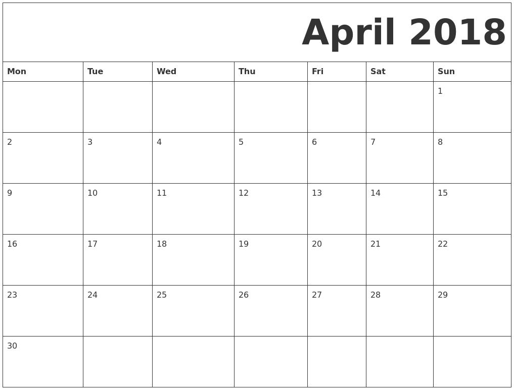 april 2018 monday starting calendar