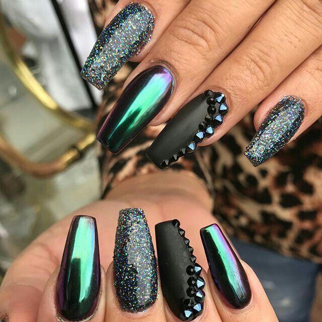 Oil Slick Chrome Black Glitter Coffin Mirror Nails Minion Nails Hot Nails