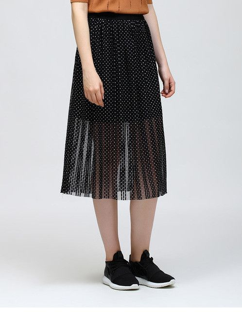 Spring New Waisted Knee-Length A-line Skirt Perspective Chiffon Wave Point Women Skirts