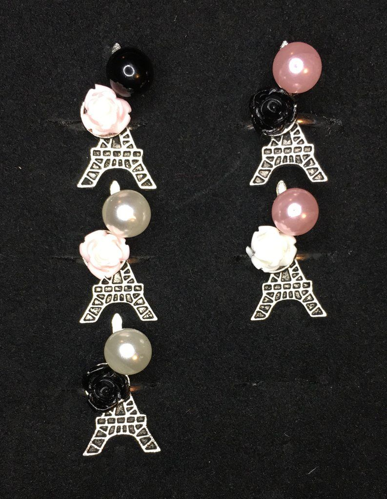 de0bcb34e Girls Starlet Shimmer Silver Eiffel Tower Paris Flower Pearl Multi Color  Ring