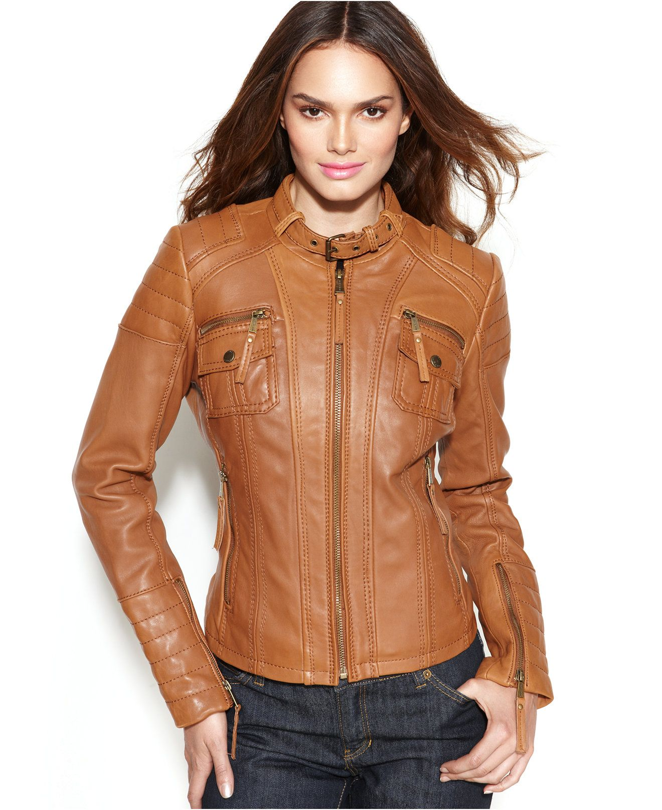 MICHAEL Michael Kors Petite Buckle-Collar Quilted Leather Jacket ...