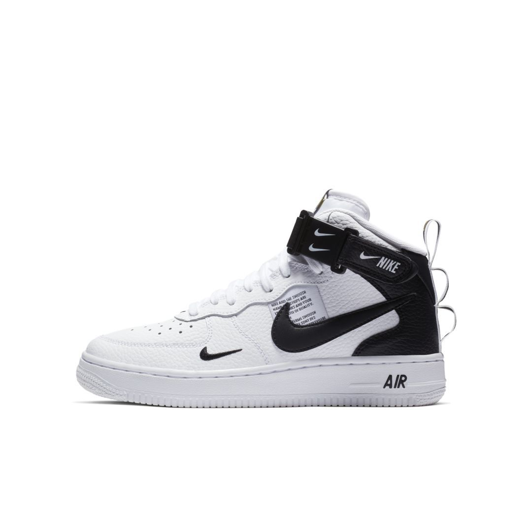 Nike Air Force 1 Mid LV8 Big Kids' Shoe Size 3.5Y (White