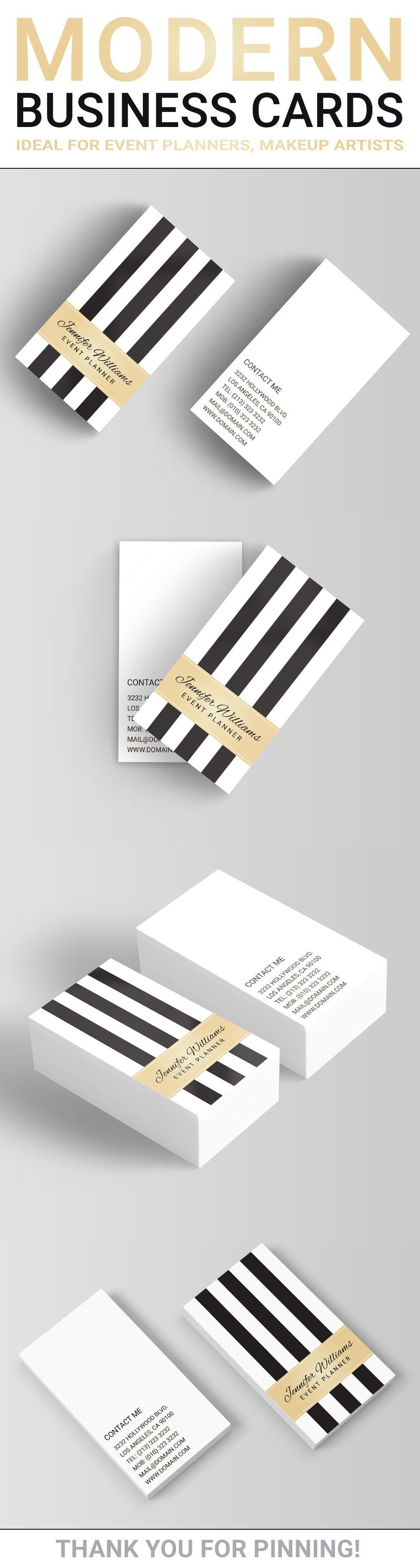 Black And White Stripe Business Card The Design Shows A Faux Golden L In 2020 Event Planner Business Card Makeup Artist Business Cards Templates Modern Business Cards