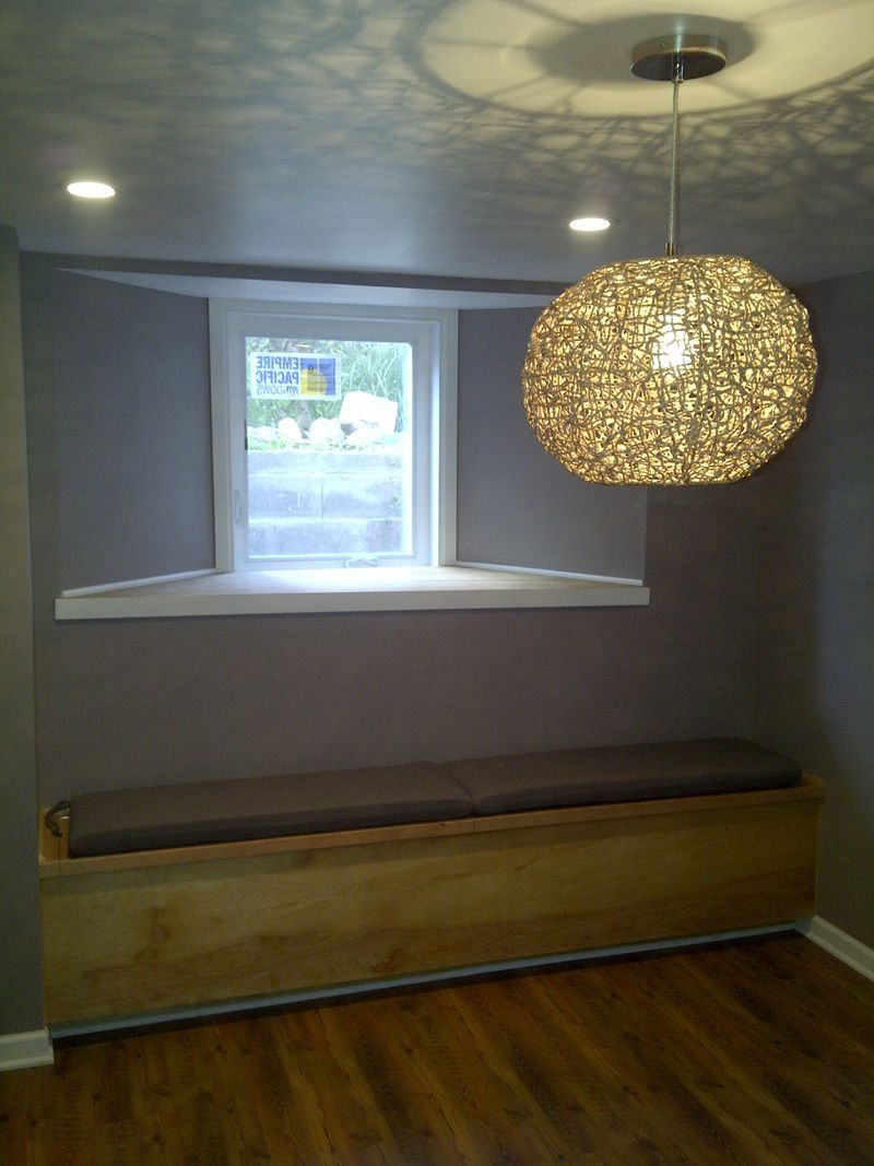 Bench Seat With Added Storage Under An Egress Window Nice Idea For The Basement Family Room Different W Egress Window Basement Remodeling Basement Windows