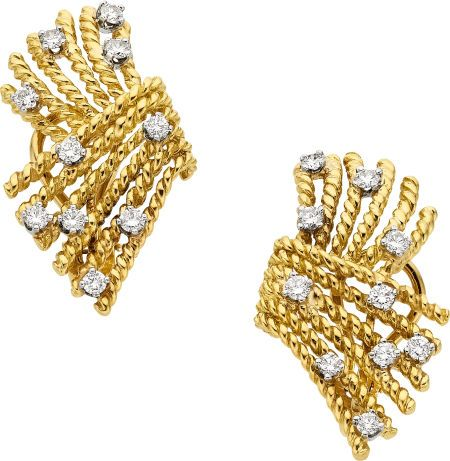 Estate Jewelry Earrings Diamond Platinum Gold Schlumberger For Tiffany