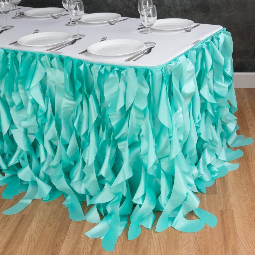 17 Ft Curly Willow Table Skirt Tiffany Blue For Weddings And