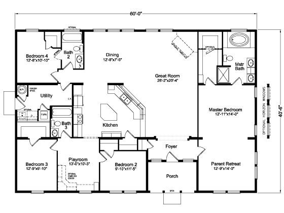 Image Result For Four Bedroom Open House Plans 60x40