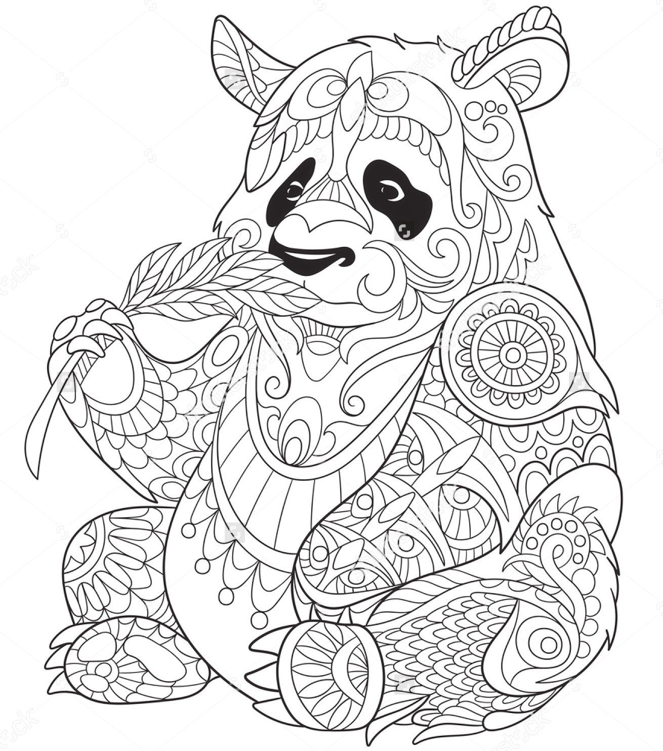 Panda eating bamboo zentangle coloring page art for Coloring pages panda