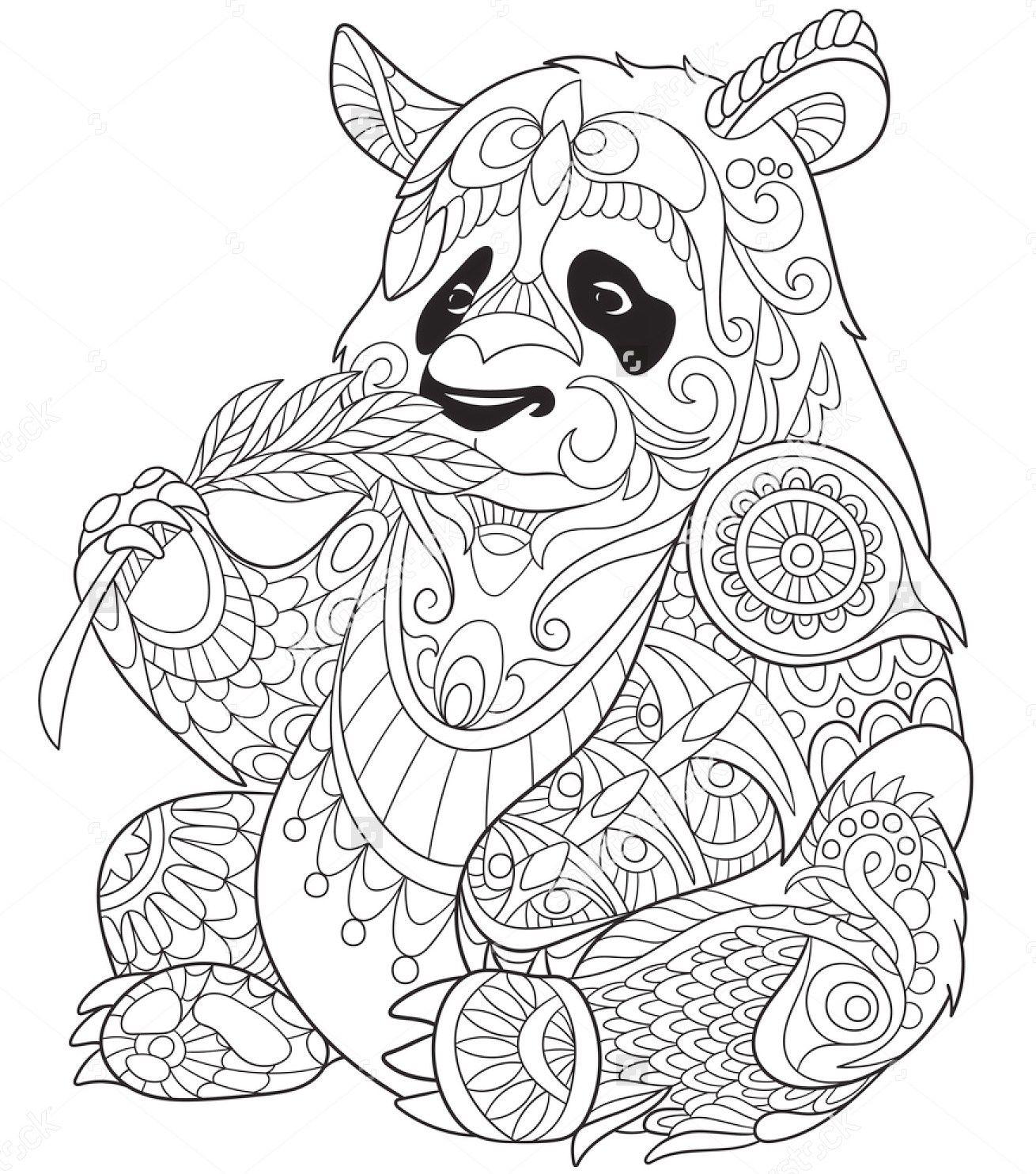 pandaeatingbamboozentanglecoloringpage