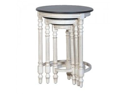 Coach House White/Black Top Nest Of Tables £161.00